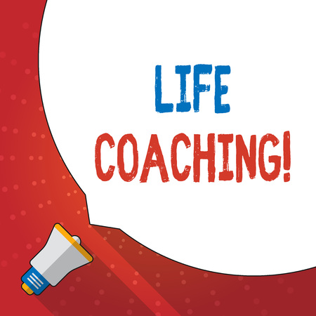 Text sign showing Life Coaching. Business photo text demonstrating employed to help showing attain their goals in career Huge Blank White Speech Bubble Occupying Half of Screen and Small Megaphone Banco de Imagens