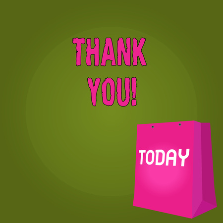 Handwriting text Thank You. Conceptual photo polite expression used when acknowledging gift service compliment Color Gift Bag with Punched Hole but Without Handle on Twotone Blank Space