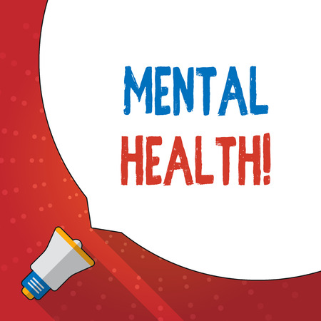 Text sign showing Mental Health. Business photo text demonstratings condition regard to their psychological well being Huge Blank White Speech Bubble Occupying Half of Screen and Small Megaphone Banco de Imagens
