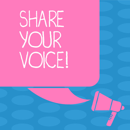 Word writing text Share Your Voice. Business photo showcasing tell your opinion to everyone and discuss it with others Color Silhouette of Blank Square Speech Bubble and Megaphone photo Banco de Imagens