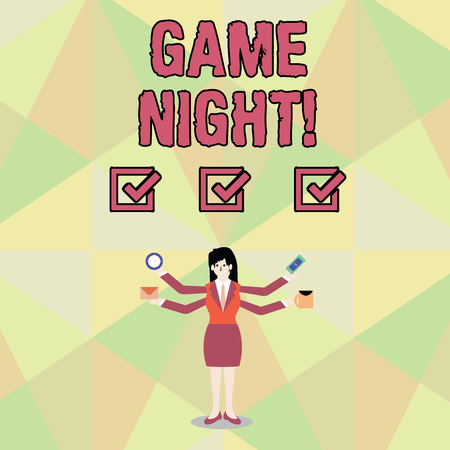 Word writing text Game Night. Business photo showcasing usually its called on adult play dates like poker with friends Businesswoman with Four Arms Extending Sideways Holding Workers Needed Item