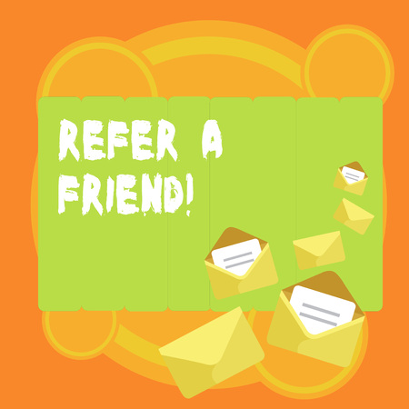 Word writing text Refer A Friend. Business photo showcasing direct someone to another or send him something like gift Closed and Open Envelopes with Letter Tucked In on Top of Color Stationery 版權商用圖片