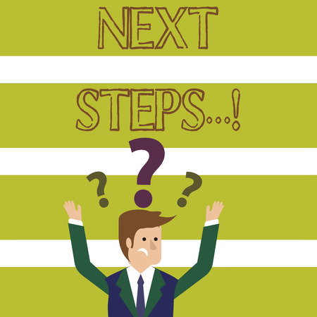 Word writing text Next Steps. Business photo showcasing something you do after you have finished doing first one Confused Businessman Raising Both Arms with Question Marks Above his Head