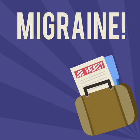 Handwriting text Migraine. Conceptual photo Recurrent headache in one side of head nausea and disturbed vision Announcement File Folder for Employment Opportunity Tucked Inside Briefcase Reklamní fotografie