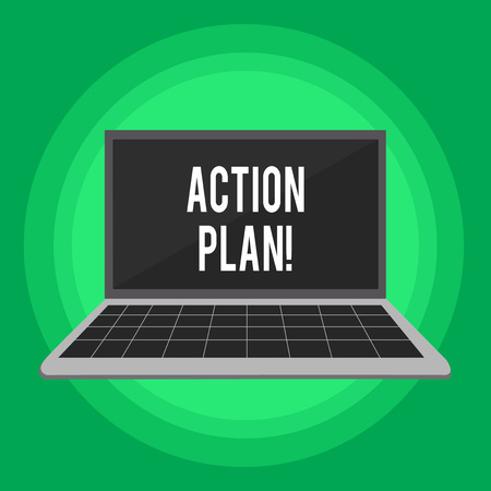 Handwriting text writing Action Plan. Conceptual photo proposed strategy or course of actions for certain time Laptop with Grid Design Keyboard and Blank Black Screen on Pastel Backdrop