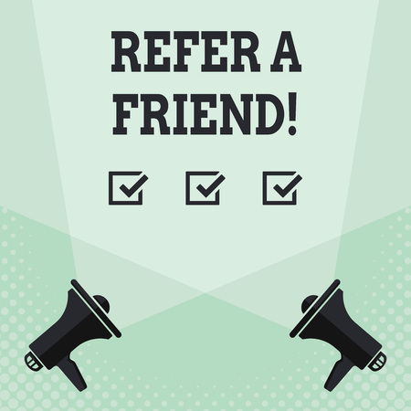 Conceptual hand writing showing Refer A Friend. Concept meaning direct someone to another or send him something like gift Spotlight Crisscrossing Upward from Megaphones on the Floor Stok Fotoğraf