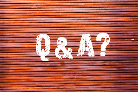 Word writing text Q And A Question. Business photo showcasing in which demonstrating asks questions and other answer them Brick Wall art like Graffiti motivational call written on the wall Reklamní fotografie - 119213304