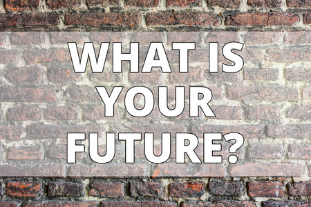Writing note showing What Is Your Futurequestion. Business concept for Where do you see yourself in the next years Brick Wall art like Graffiti motivational call written on the wall Foto de archivo