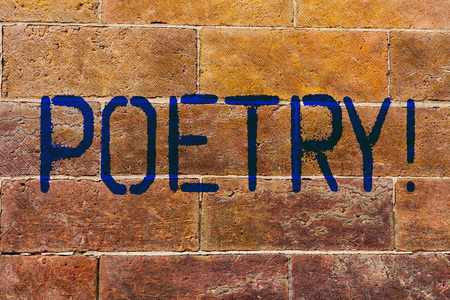 Conceptual hand writing showing Poetry. Concept meaning Literary work Expression of feelings ideas with rhythm Poems writing Brick Wall art like Graffiti motivational written on wall Banco de Imagens