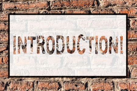 Word writing text Introduction. Business photo showcasing First part of a document Formal presentation to an audience Brick Wall art like Graffiti motivational call written on the wall Stockfoto