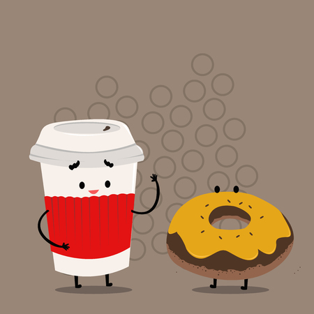 Carry Out Paper Cup with Lid and Sleeve Beside Doughnut with Frosting on Top Design business concept. Business ad for website and promotion banners. empty social media ad