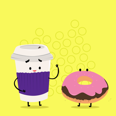 Carry Out Paper Cup with Lid and Sleeve Beside Doughnut with Frosting on Top Business concept Empty template copy space isolated Posters coupons promotional material Stock Illustratie