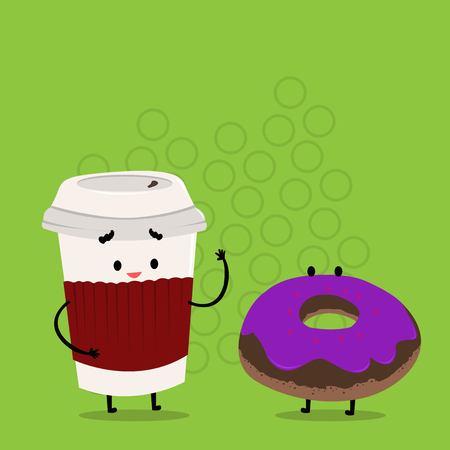 Carry Out Paper Cup with Lid and Sleeve Beside Doughnut with Frosting on Top Design business concept Empty copy text for Web banners promotional material mock up template.