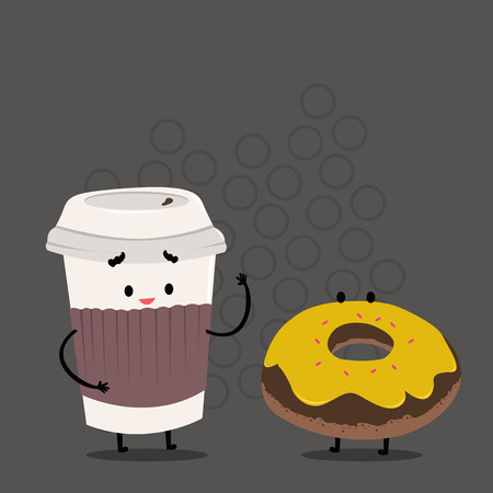 Carry Out Paper Cup with Lid and Sleeve Beside Doughnut with Frosting on Top Design business concept Empty template copy space text for Ad website isolated.