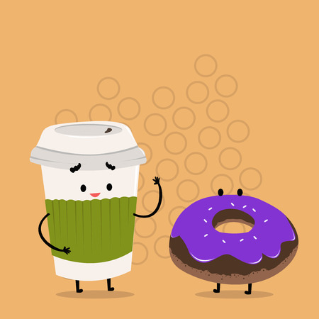 Carry Out Paper Cup with Lid and Sleeve Beside Doughnut with Frosting on Top Design business concept Empty copy space modern abstract background Ilustrace