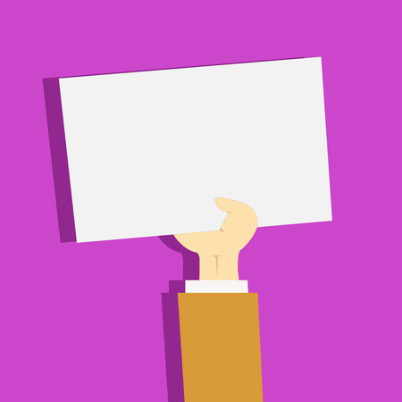 Clipart of Hand Holding Up Blank Sheet of White Paper on Pastel Backdrop Design business concept Empty copy text for Web banners promotional material mock up template.  イラスト・ベクター素材