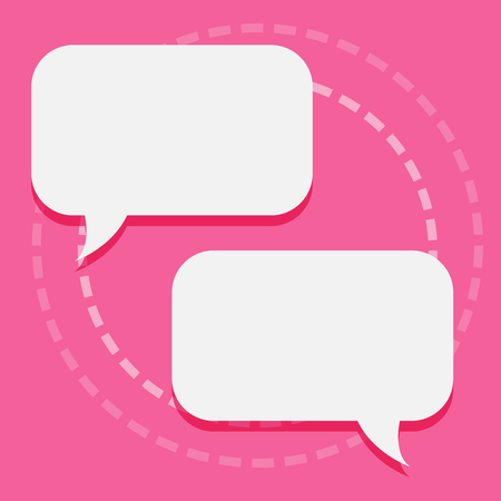 Two Blank White Speech Balloon Engaging in Conversation on Pastel Backdrop Design business concept Empty template copy space text for Ad website isolated