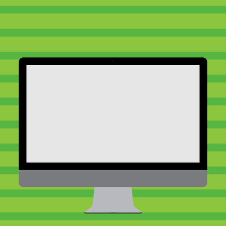 Blank White Computer Monitor WideScreen Mounted on a Stand for Technology Design business concept. Business ad for website and promotion banners. empty social media ad