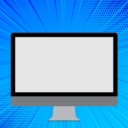 Blank White Computer Monitor WideScreen Mounted on a Stand for Technology Copy Space design Empty template text for Ad, promotion, poster, flyer, web banner, article Illustration