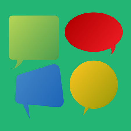 Blank Speech Bubble Sticker in Different Shapes and Color for Multiple Chat Design business concept Empty template copy space text for Ad website isolated Иллюстрация
