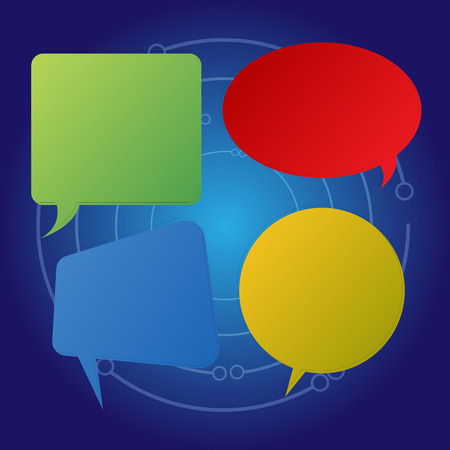 Blank Speech Bubble Sticker in Different Shapes and Color for Multiple Chat Business concept Empty template copy space isolated Posters coupons promotional material Иллюстрация
