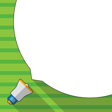 Riesige leere weiße Sprechblase, die die Hälfte des Bildschirms und des kleinen Megaphon-Geschäfts einnimmt Leere Vorlage für das Layout für Einladungsgrußkarten-Werbeplakat-Gutschein
