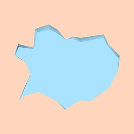Blank Pale Blue Speech Bubble in Irregular Cut Edge Shape 3D Style Backdrop Design business concept. Business ad for website and promotion banners. empty social media ad