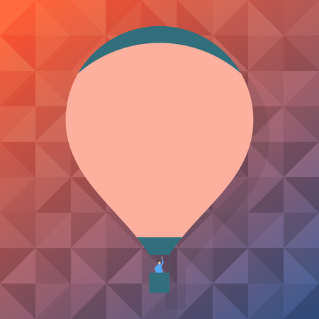 Blank Pink Hot Air Balloon Floating with One Passenger Waving From Gondola Copy Space design Empty template text for Ad, promotion, poster, flyer, web banner, article