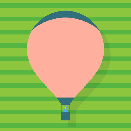 Blank Pink Hot Air Balloon Floating with One Passenger Waving From Gondola Business Empty template for Layout for invitation greeting card promotion poster voucher