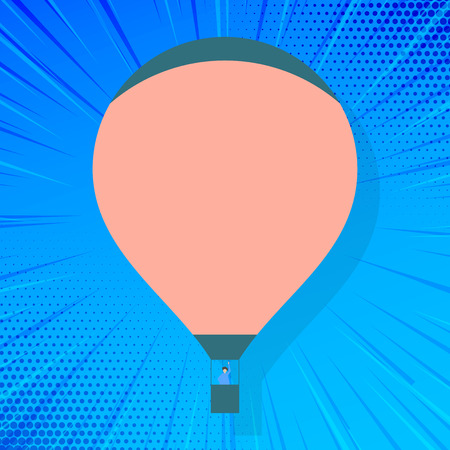 Blank Pink Hot Air Balloon Floating with One Passenger Waving From Gondola Design business concept Empty copy text for Web banners promotional material mock up template. Vectores