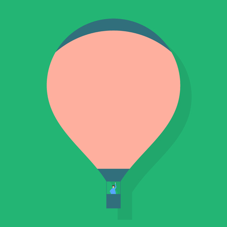 Blank Pink Hot Air Balloon Floating with One Passenger Waving From Gondola Design business concept Empty template copy space text for Ad website isolated