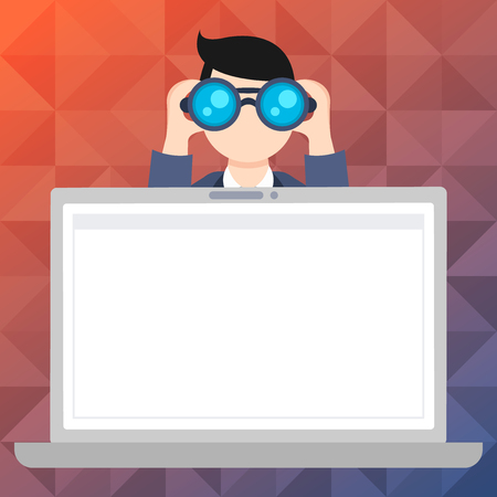 Man Holding and Looking into Binocular Behind Open Blank Space Laptop Screen Design business concept Empty template copy space text for Ad website isolated Vettoriali