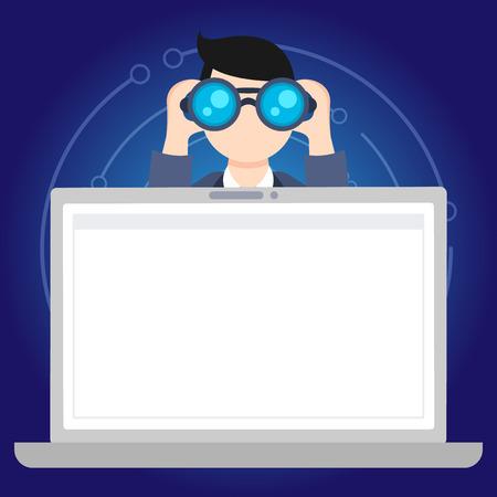 Mann, der ein Fernglas hinter offenem Leerraum Laptop-Bildschirm-Design-Geschäftskonzept hält und ins Fernglas schaut