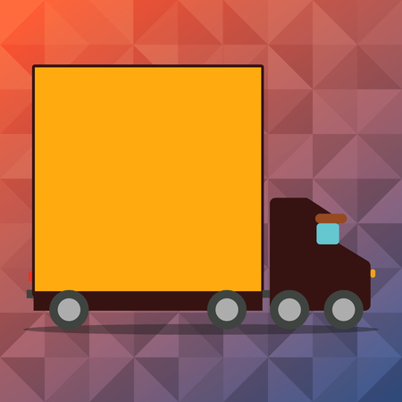 Delivery Lorry Truck with Blank Covered Back Container to Transport Goods Design business concept Empty copy text for Web banners promotional material mock up template Stock Illustratie