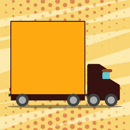 Delivery Lorry Truck with Blank Covered Back Container to Transport Goods Business Empty template for Layout for invitation greeting card promotion poster voucher
