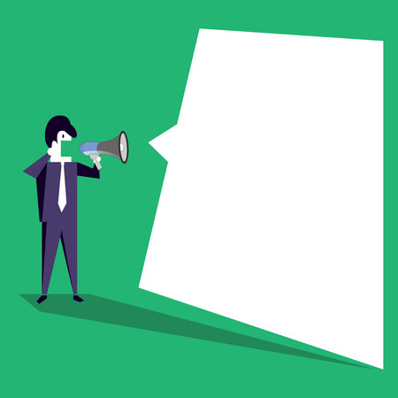 Businessman Shouting on Megaphone and Blank White Uneven Shape Speech Bubble Design business concept Empty copy space modern abstract background