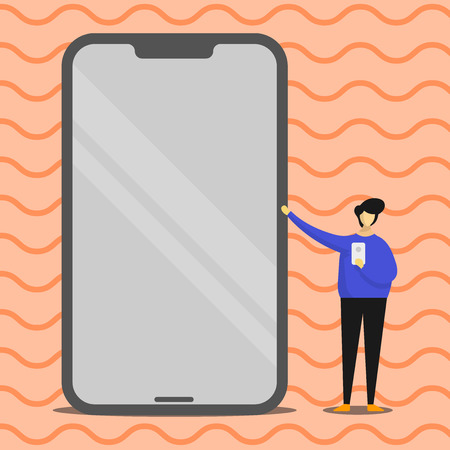 Man Presenting Huge Blank Screen Smartphone while Holding Another Mobile Copy Space design Empty template text for Ad, promotion, poster, flyer, web banner, article Ilustración de vector