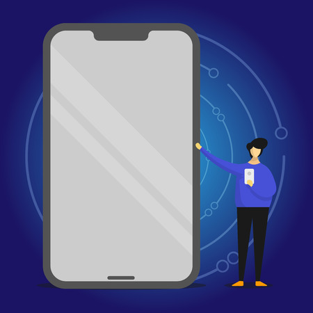 Man Presenting Huge Blank Screen Smartphone while Holding Another Mobile Design business concept Empty copy text for Web banners promotional material mock up template Vettoriali