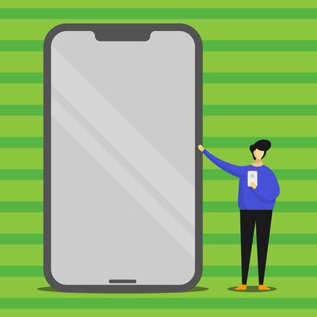 Man Presenting Huge Blank Screen Smartphone while Holding Another Mobile Design business concept Empty template copy space text for Ad website isolated