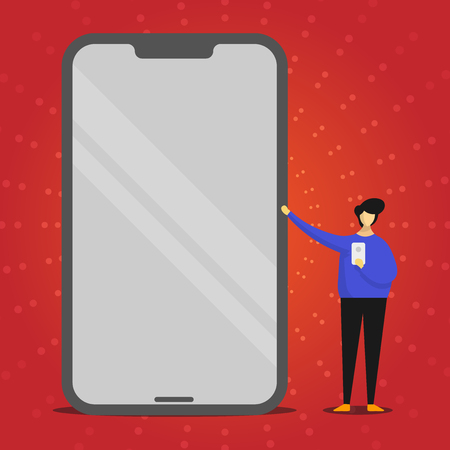 Man Presenting Huge Blank Screen Smartphone while Holding Another Mobile Design business concept. Business ad for website and promotion banners. empty social media ad Ilustração