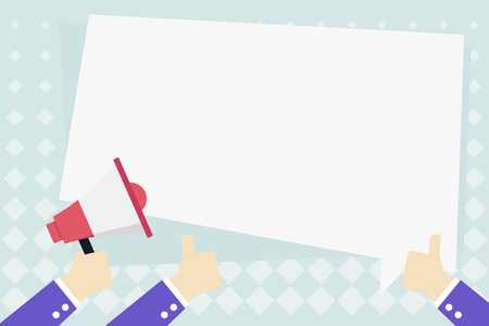 Hand Holding Megaphone and Other Two Gesturing Thumbs Up with Text Balloon Business Empty template for Layout for invitation greeting card promotion poster voucher