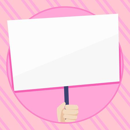 Mano que sostiene el cartel blanco en blanco apoyado por la manija para la conciencia social Concepto de negocio Plantilla vacía copia espacio aislado Carteles cupones material promocional Ilustración de vector