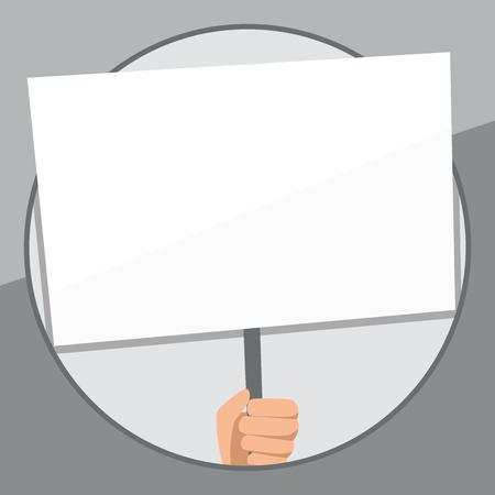 Hand Holding Blank White Placard pris en charge par la poignée pour le concept d'entreprise de conception de sensibilisation sociale Modèle vide copier le texte de l'espace pour le site Web d'annonce isolé Vecteurs