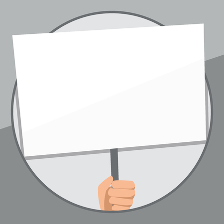 Hand Holding Blank White Placard Supported by Handle for Social Awareness Design business concept Empty template copy space text for Ad website isolated Illustration
