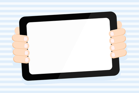 Color Tablet Smartphone with Blank Screen Handheld from the Back of Gadget Design business concept. Business ad for website and promotion banners. empty social media ad