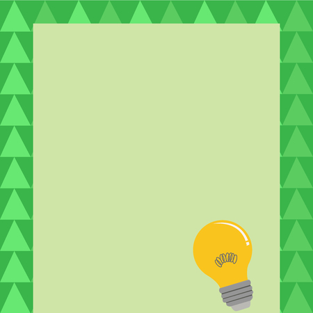 Incandescent Light Bulb with Filament Inside Resting on Blank Color Paper Business Empty template for Layout for invitation greeting card promotion poster voucher Illustration