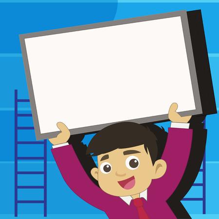 Joven estudiante sonriente levantando hacia arriba la pizarra enmarcada en blanco por encima de su cabeza Concepto de negocio de diseño Texto de copia vacía para banners Web material promocional maqueta plantilla Ilustración de vector