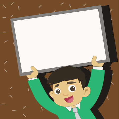 Young Smiling Student Raising Upward Blank Framed Whiteboard Above his Head Design business concept Empty copy space modern abstract background