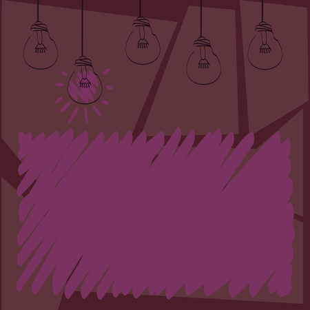 Set of Transparent Bulbs Hanging with Filament and One is in Lighted Icon Design business concept. Business ad for website and promotion banners. empty social media ad Ilustração