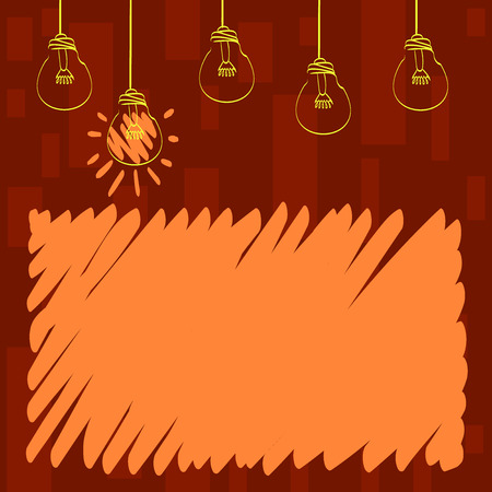 Set of Transparent Bulbs Hanging with Filament and One is in Lighted Icon Business concept Empty template copy space isolated Posters coupons promotional material Illustration